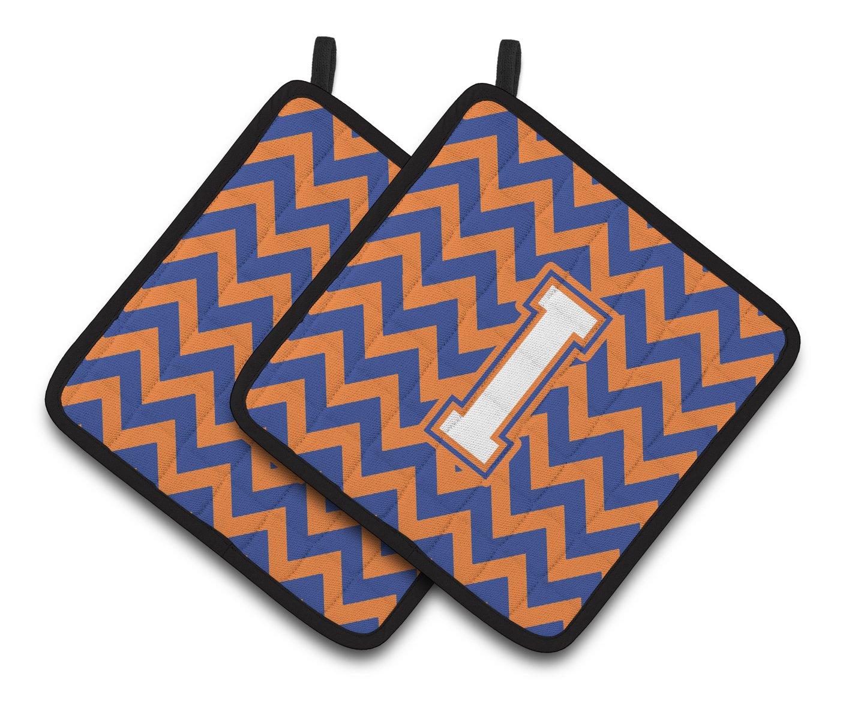 Carolines Treasures Letter I Chevron Blue /& Orange #3 Pair of Pot Holders CJ1060-IPTHD Multicolor 7.5HX7.5W
