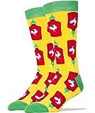 Oooh Yeah Men's Luxury Combed Cotton Crew Socks - Holy Sriracha Hot Sauce