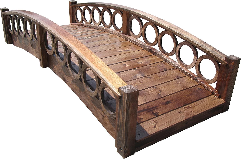 SamsGazebos 8-Foot Rose Garden Bridge with Ring Railings, Treated
