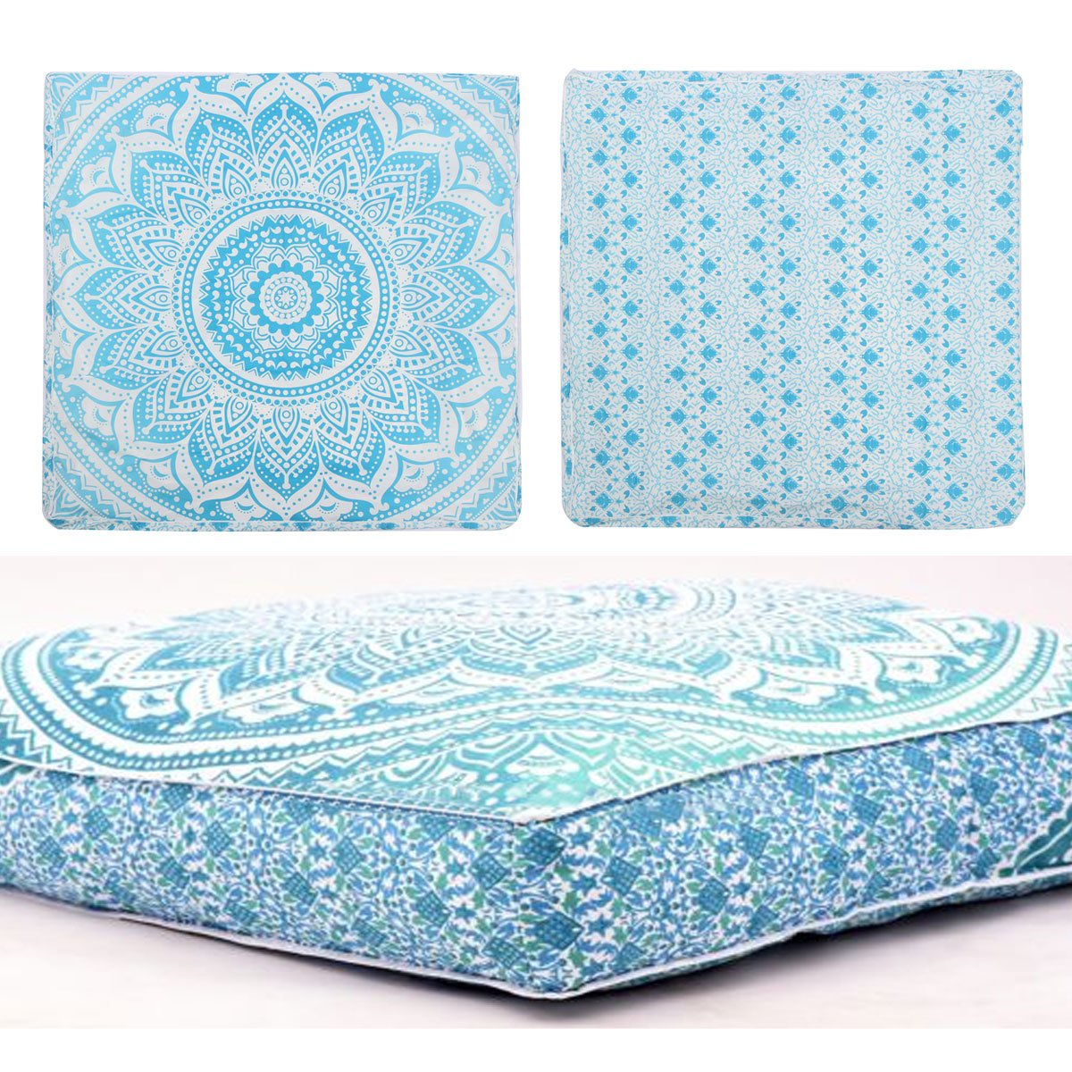 Third Eye Export - Indian Mandala Floor Pillow Square Ottoman Pouf Daybed Oversized Cushion Cover Cotton Seating Ottoman Poufs Dog/Pets Bed (Green)