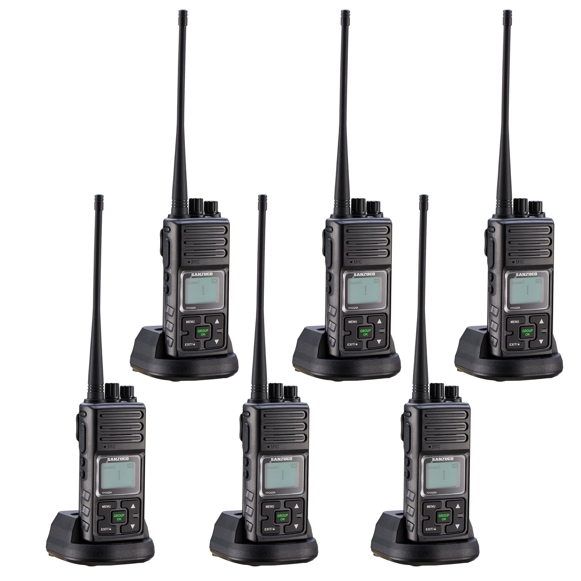 Walkie Talkie, Sanzuco 20 Channel Hands Free 2 Way Radios up to 2.5 Miles Long Range Rechargable Interphone for Outdoor Camping Hiking(black,pack of 6)