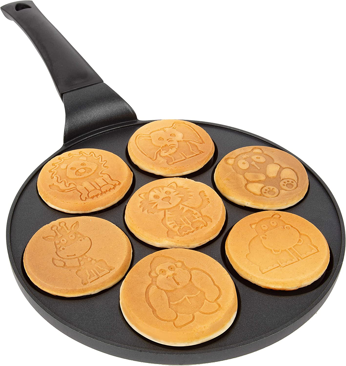 Animal Mini Pancake Pan - Make 7 Unique Flapjack Zoo Animals, Nonstick Pan Cake Maker Griddle for Breakfast Fun & Easy Cleanup