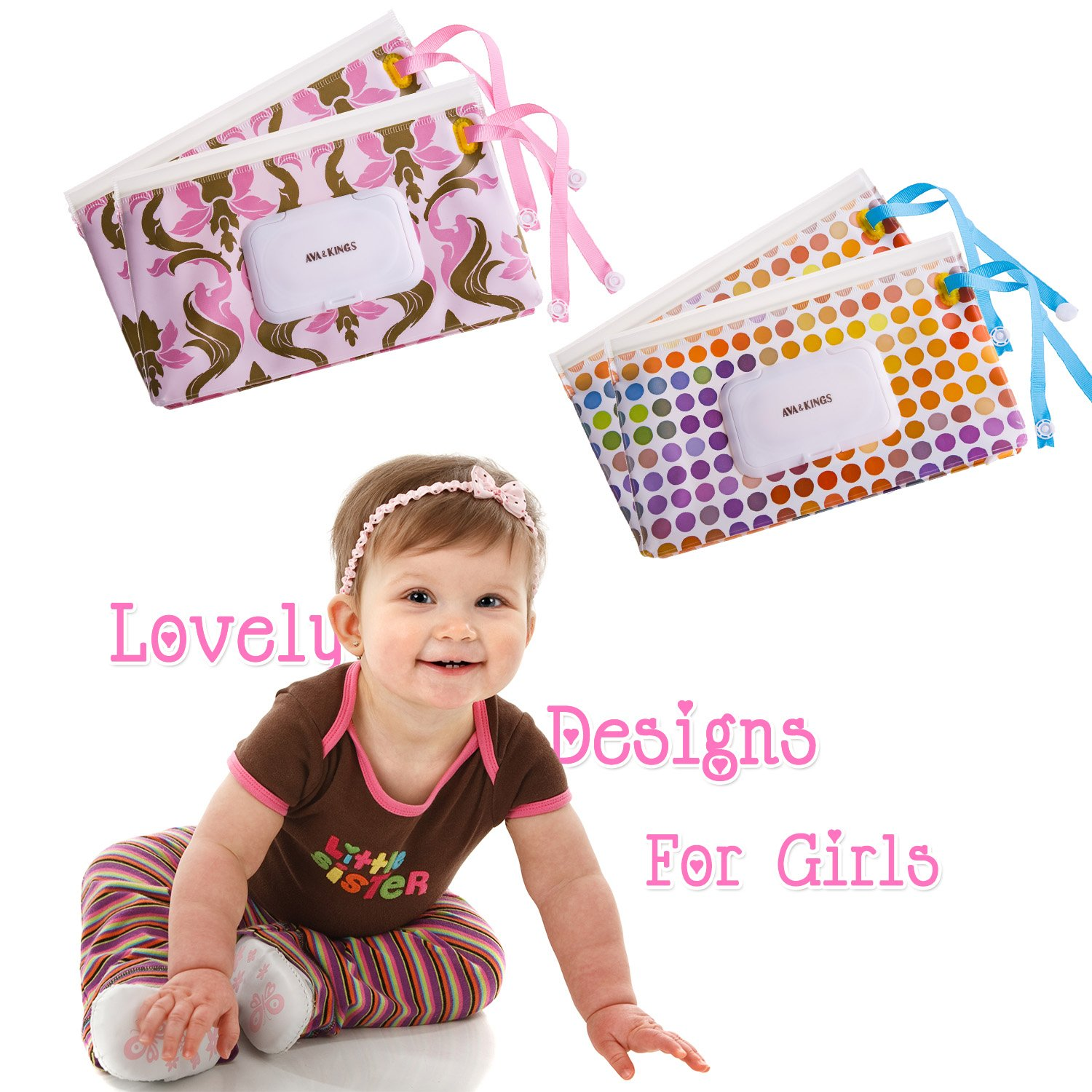 New /& Improved Design Set 2 Ava /& Kings 4pc Baby Wipe Carrying Travel Case Holder Dispenser Refillable Moist Diaper Wet Wipe Clutch w//Button Strap Unisex Variety Pack White Arrow /& Gray Pixel