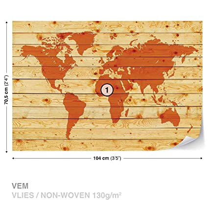 World Map Wood Planks Wall Mural Photo Wallpaper Room Décor (1971WS ...