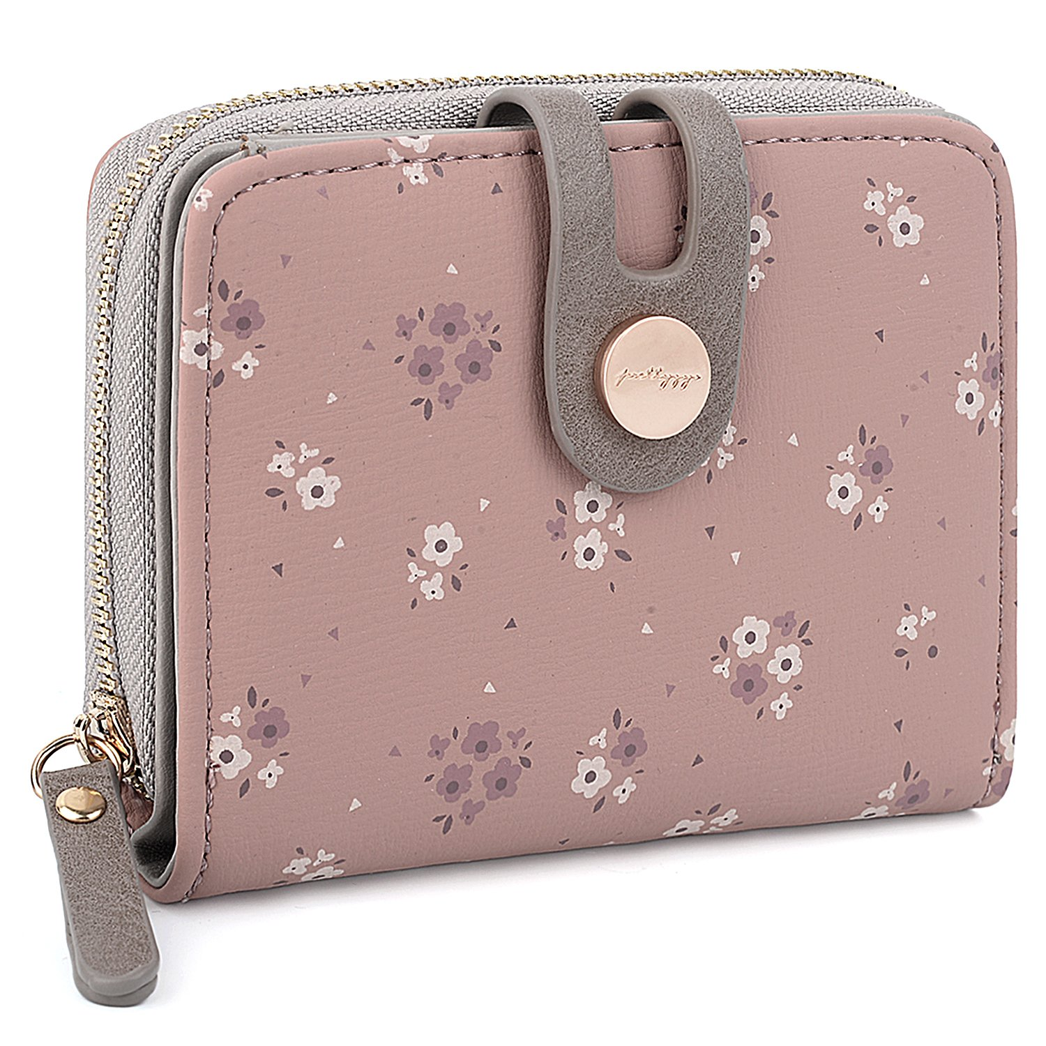 UTO Women Wallet Soft PU Leather Small Flowers Pattern Snap Bifold Zipper Card Holder Organizer Pale Mauve by UTO
