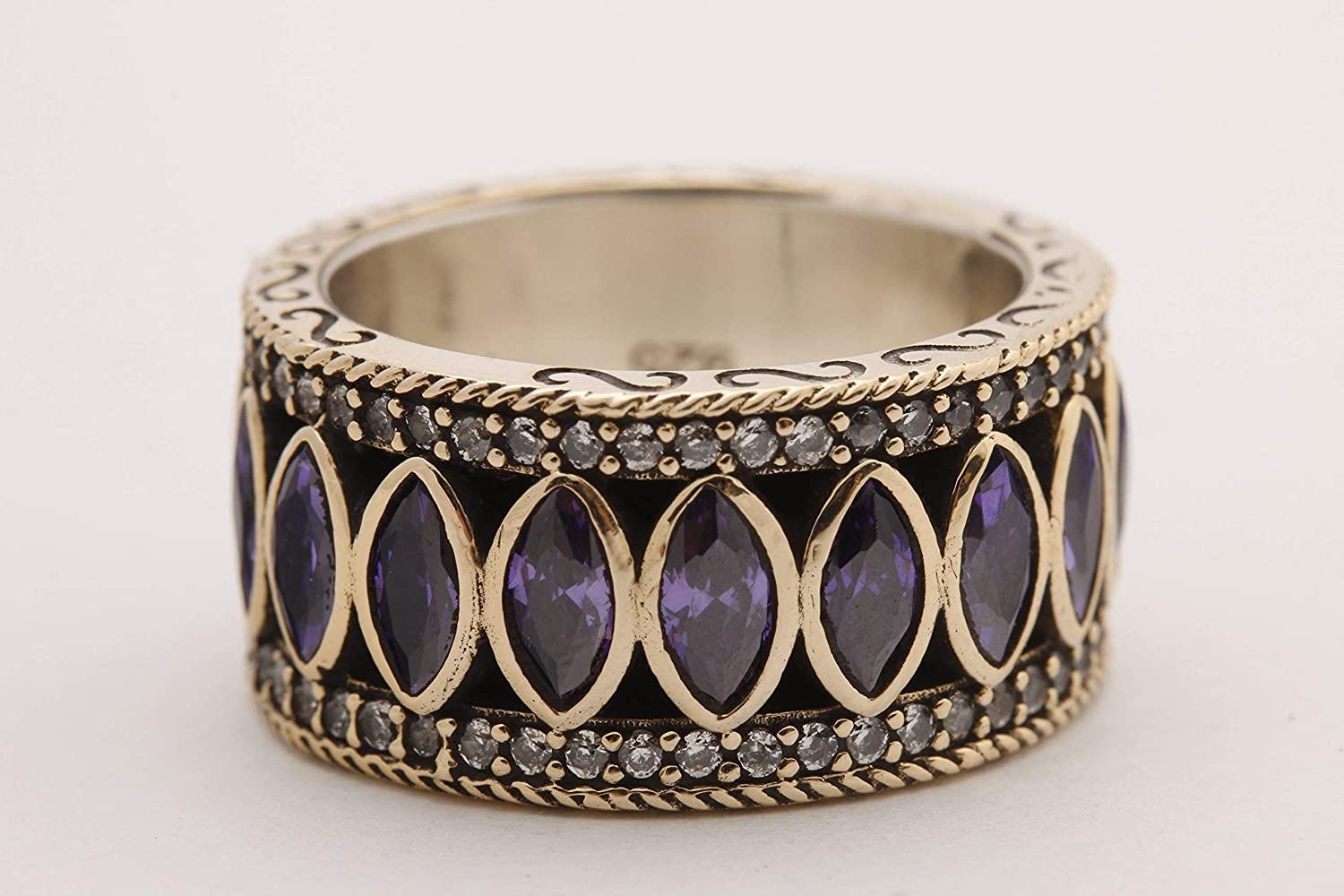 Turkish Handmade Jewelry Marquise Cut Amethyst Round Topaz 925 Sterling Silver Band Ring Size 9.5