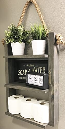 Amazon.com: Bathroom Storage Shelf - Rustic Wood & Rope Bathroom ...