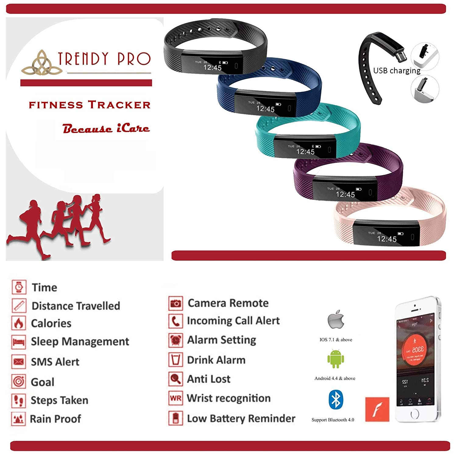 ef25a431741 Amazon.com  Kids Fitness Tracker for Kids Activity Tracker - Smart Watch for  Android Phones iOS Digital Smart Bluetooth Step Calorie Counter Sleep  Monitor ...