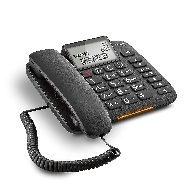 Black Ampio Display Visualizzazione chiamata tramite LED Italia Grandi tasti ergonomici Gigaset DL 380 Telefono Fisso