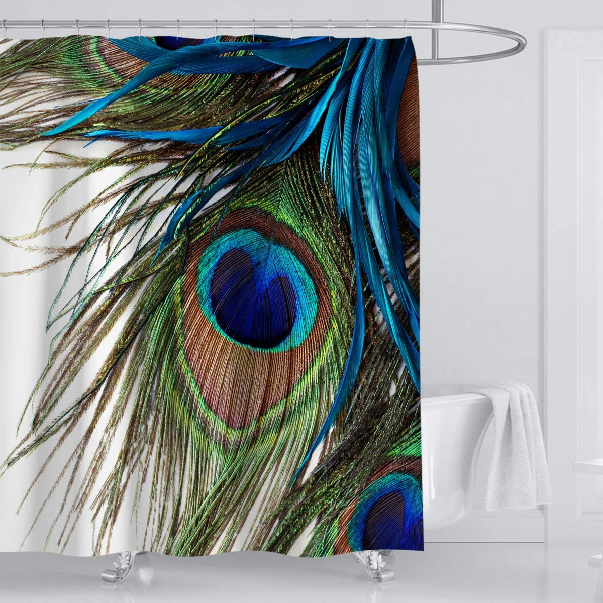 Whim-Wham Vantage Peacock Feathers Shower Curtain Blue Green Delicate Home Decor Shower Curtain