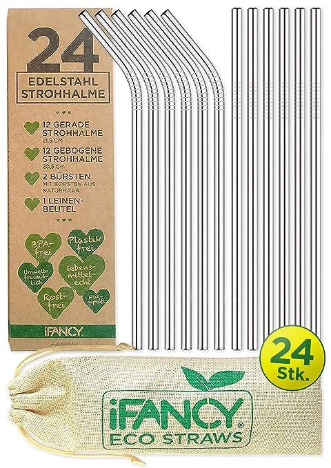 iFancy 24 Pajitas Ecológicas de Acero Inoxidable + 2 Cepillos de ...