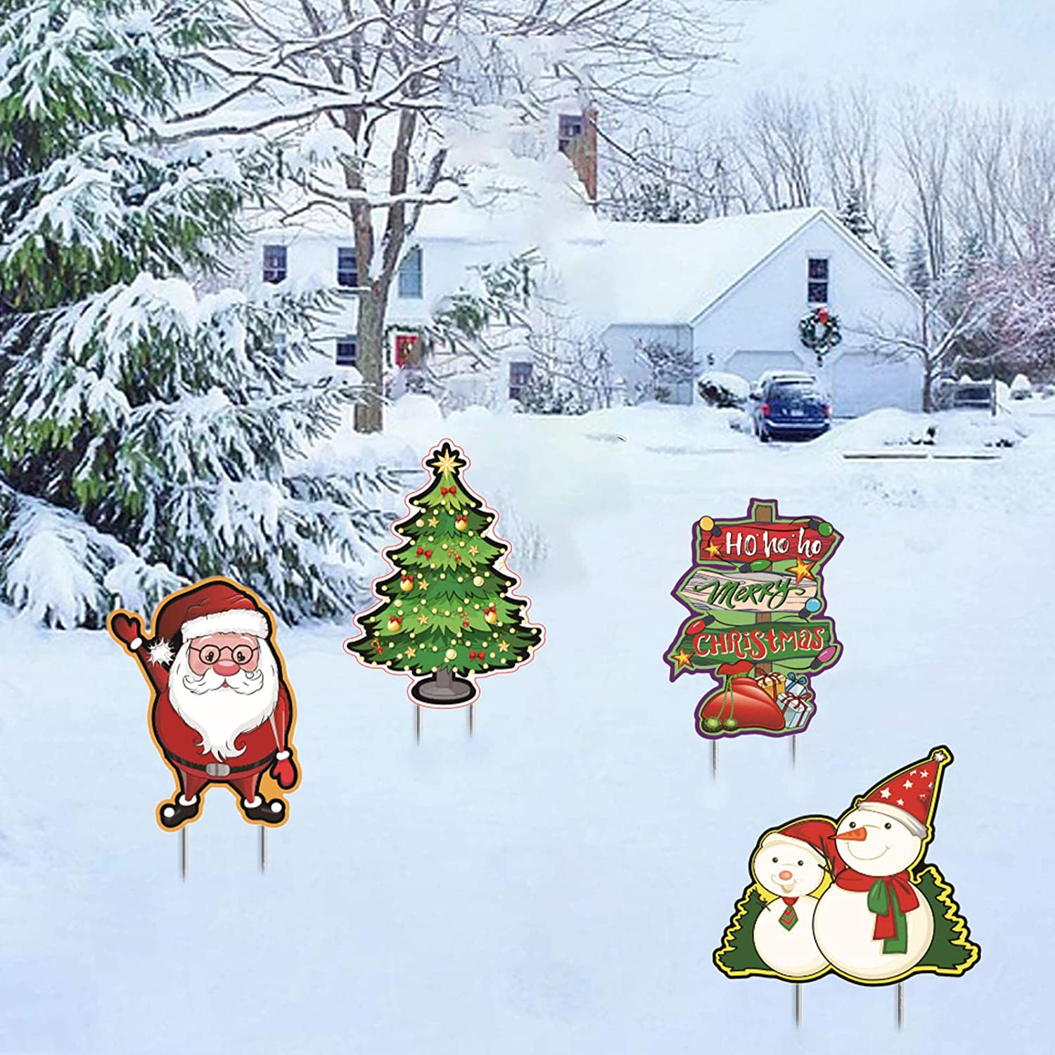 Alycwint Christmas Yard Signs Stakes Outdoor Decorations Xmas Lawn Decor Christmas Tree, Santa Claus, Signpost, Snowman,for Xmas Holiday Party Home Garden Pathway Party Winter Wonderland Ornaments