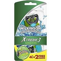 Wilkinson Sword Xtreme 3 Sensitive - Maquinillas de Afeitar Desechables con 3 Hojas Flexibles y Banda Lubricante de Aloe…