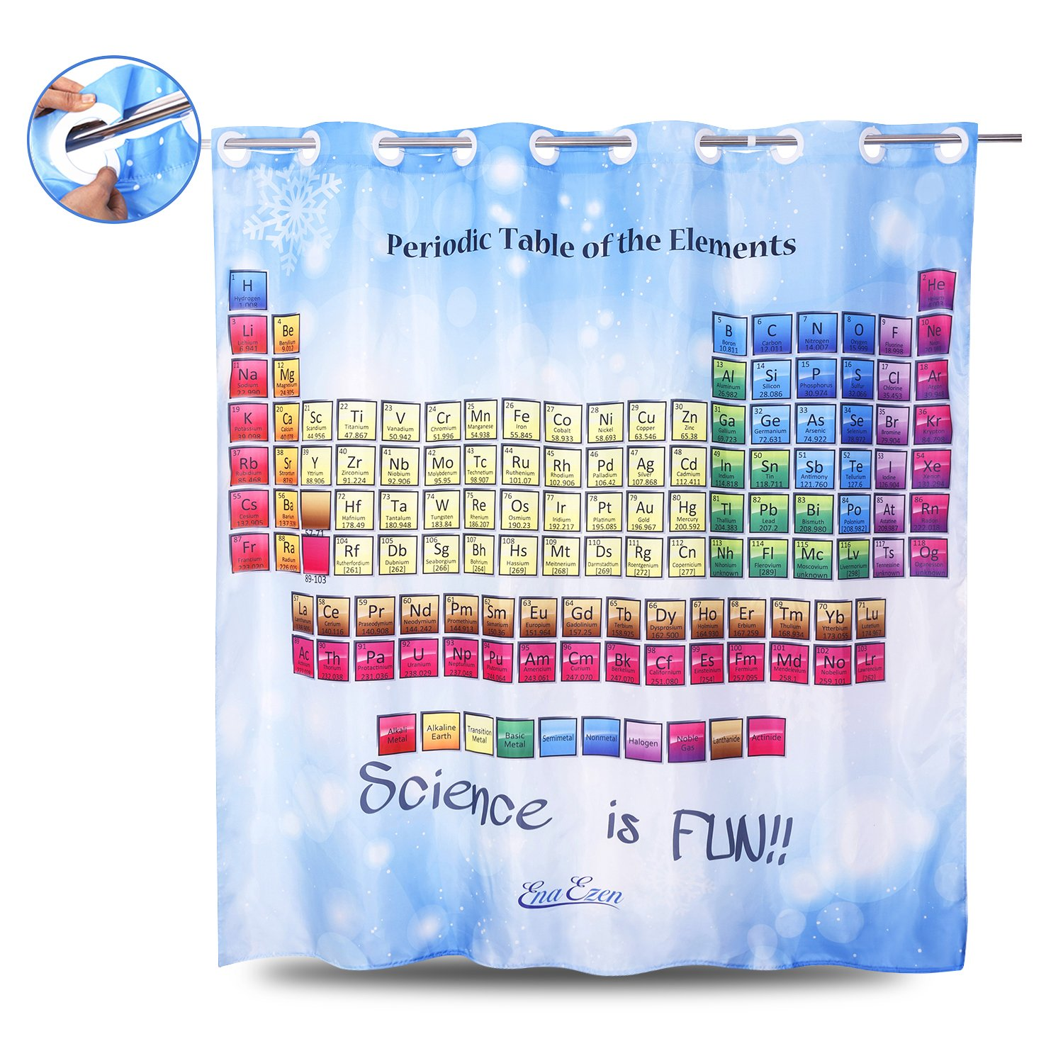 Periodic Table Shower Curtain Blue - EnaEzen Educational Fabric Shower Curtains Hookless (No Need Hooks or Rings) for Bathroom Polyester 71 x 71 inches
