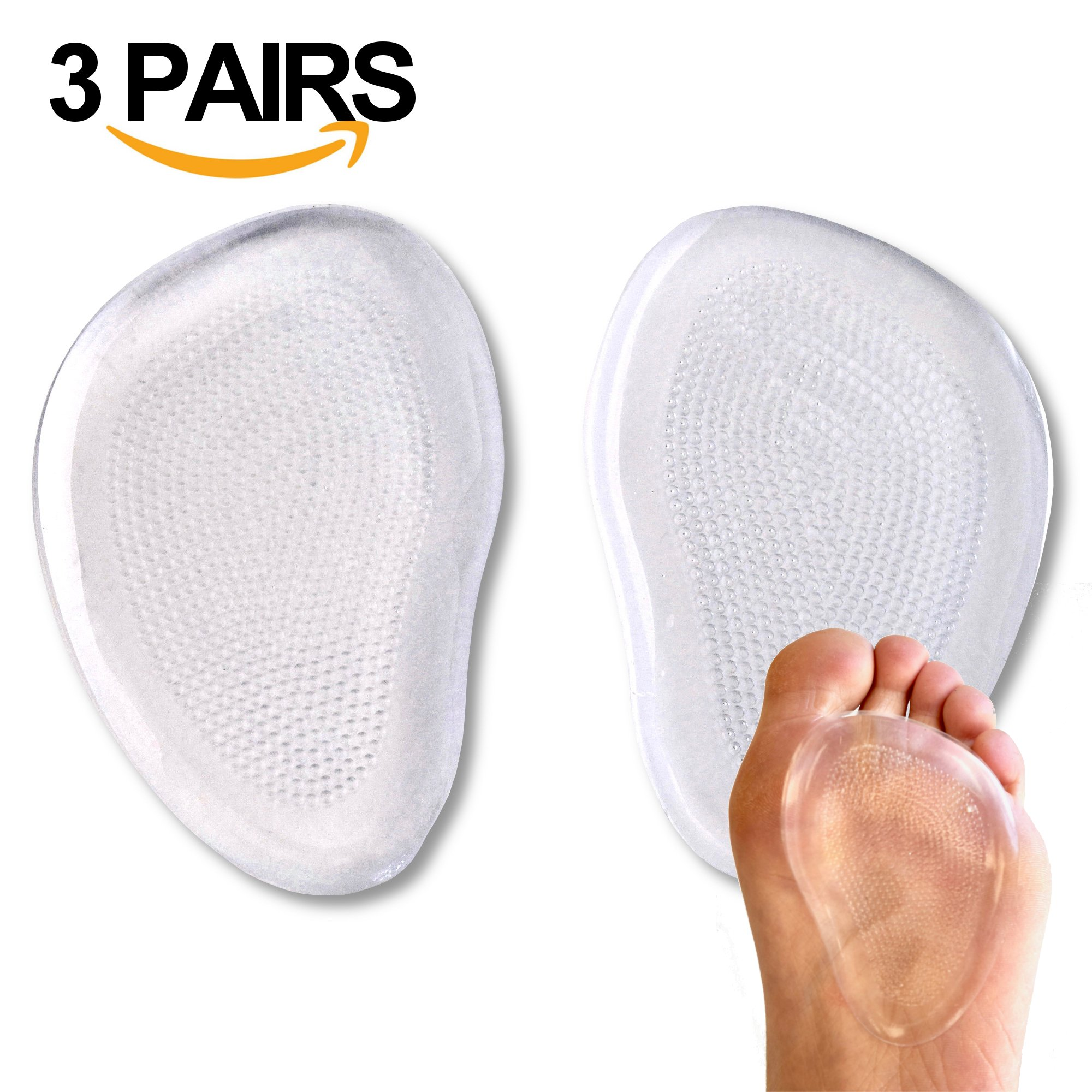 SHOP GIRL Foot Pads 3 Pieces-Gel Pad -Metatarsal Pads pain Relief for high heel, dancers high heel, sports shoes, other shoes
