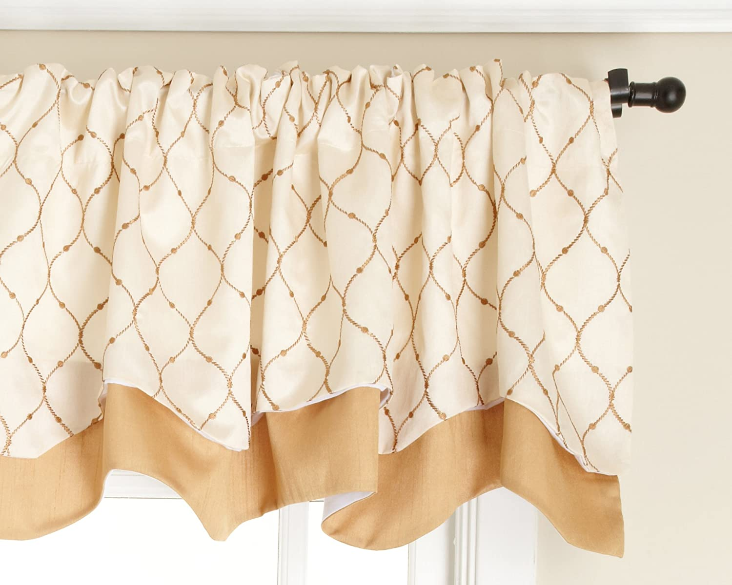 Stylemaster Bleecker 54 by 17-Inch Lined Embroidered Layered Valance, Truffle