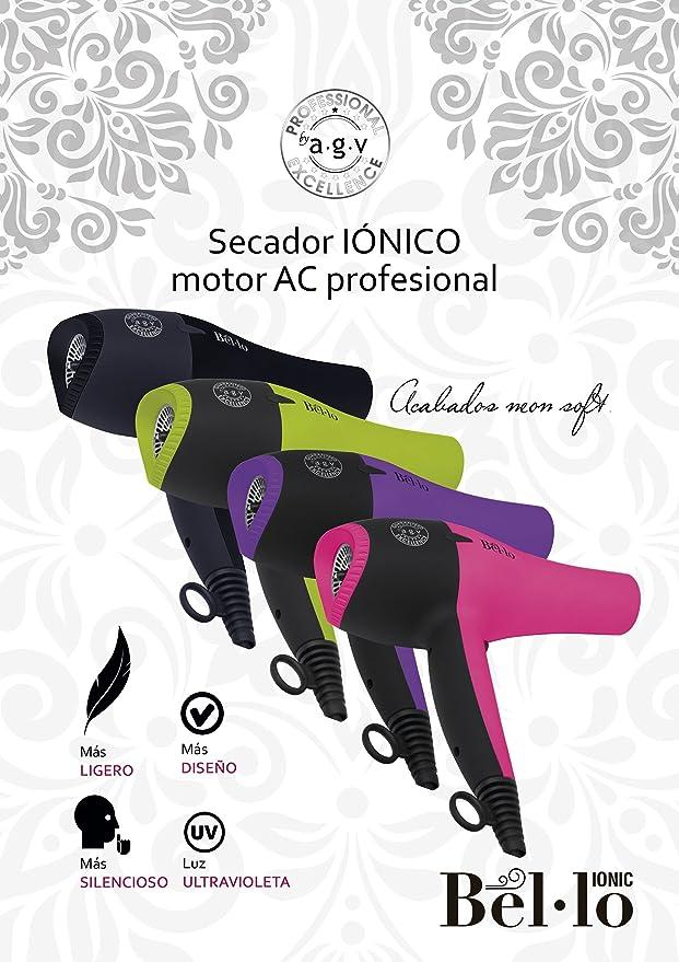 Secador de Pelo Profesional Iónico Ligero Silencioso Bel.lo Rosa (Pink) By AGV: Amazon.es: Belleza