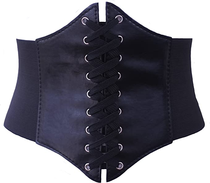 Victorian Corsets – Old Fashioned Corsets & Patterns ELASTIC CINCHED WIDE CORSET BELT RED BLACK & WHITE  AT vintagedancer.com