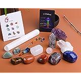 JIC Gem 14 Pcs Healing Crystals for Chakra Balancing: tumbles Stones,Crystal Quartz Pendulum, Amethyst Cluster, Raw Rose Quar