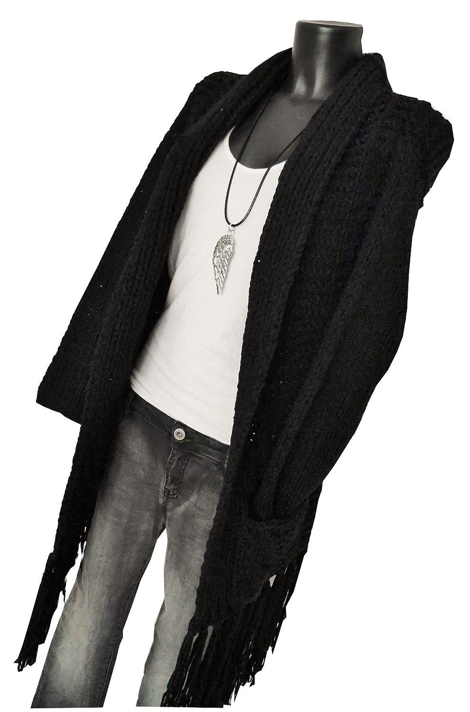 Fashion Trend Mode oversize cut Strickjacke Knitwear Weste Strickcardigan Cardigan Fransen schwarz black L XL 40 42 44 casual boho (2160)