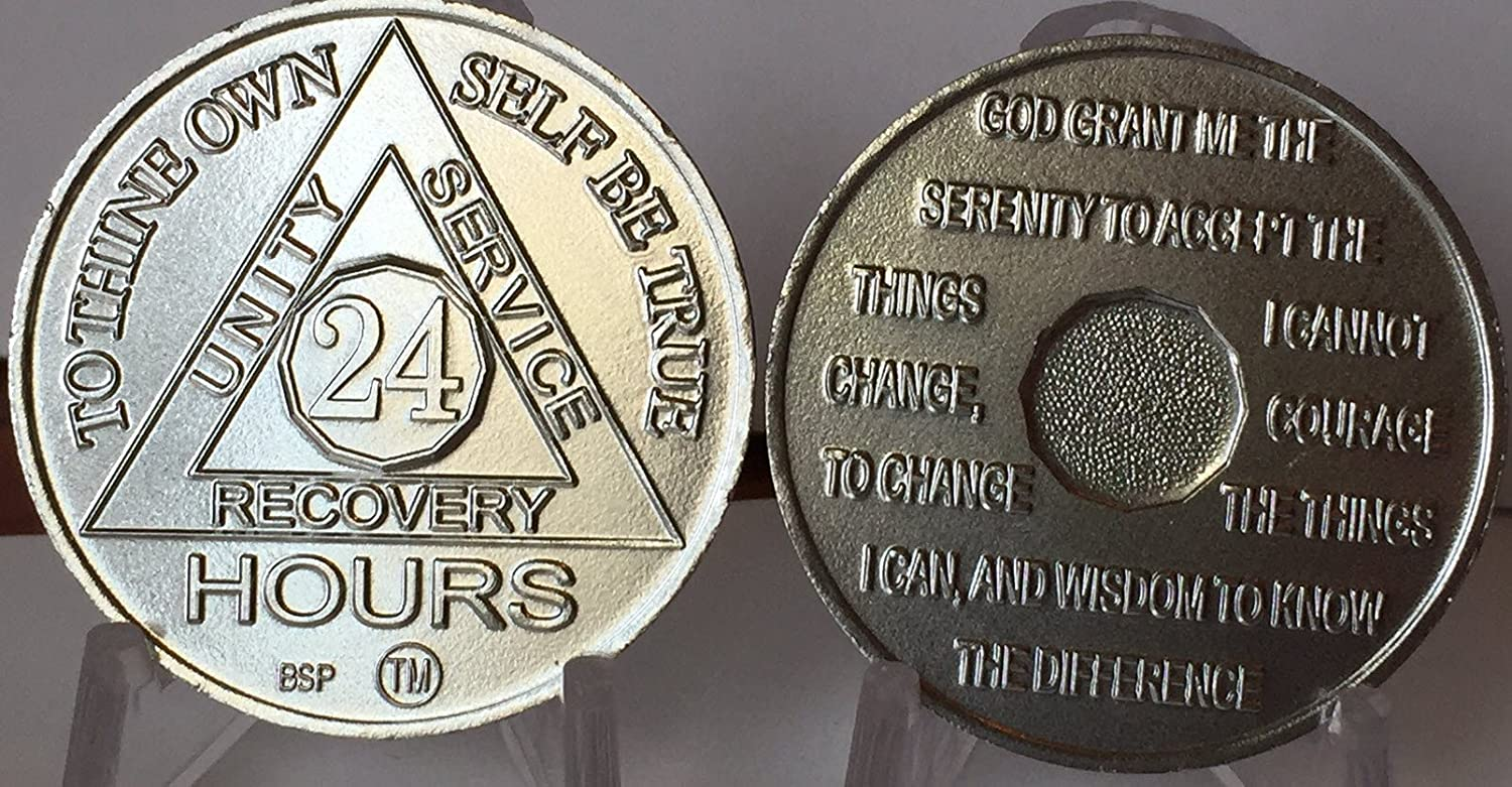 Commemorative 24 Hour BSP AA Silver Color Aluminum Medallion with Serenity Back Set of 50