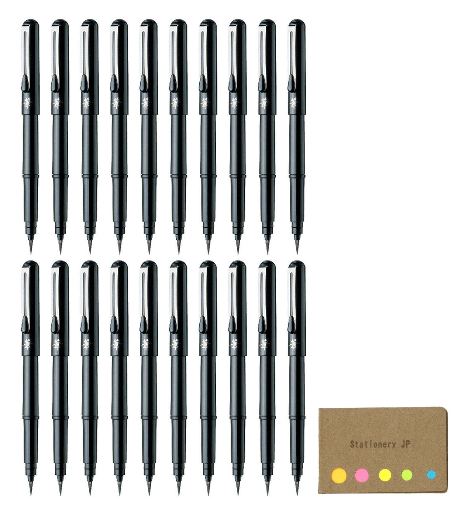 Pentel Arts Pocket Brush Pen (XGFKP-A), 20-pack, Sticky Notes Value Set