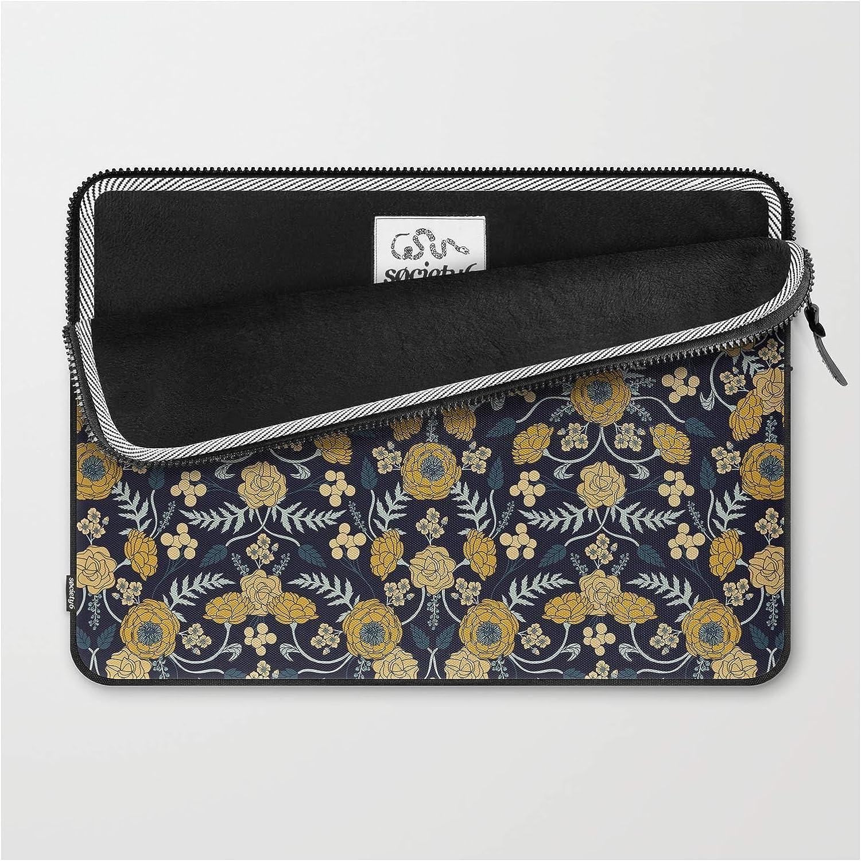 Cream /& Mustard Yellow Dark Floral Pattern by Beth Norton on Laptop Sleeve Turquoise Navy Blue