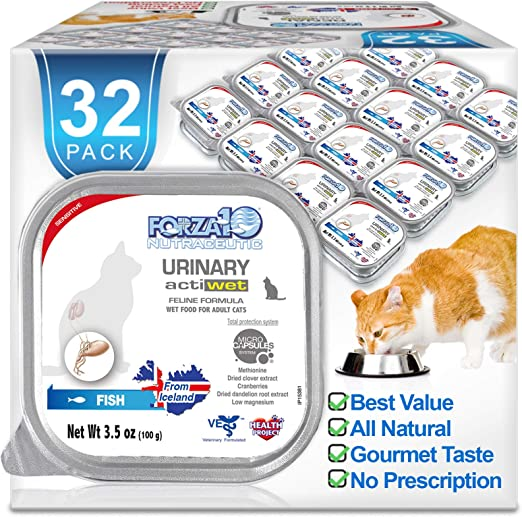 Forza10 Wet Urinary Cat Food Actiwet Special Diet Cat Food, Fish Flavor Urinary Tract Cat Food, 32 Pack Case of 3.5 Ounce Each