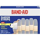 Band-Aid Brand Sheer Strips Adhesive Bandages For Minor Scrapes, 100 Count