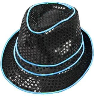 48c1c1c69f0b5 Electric Styles Light Up Fedora - Made with El Wire (Aqua) at Amazon ...