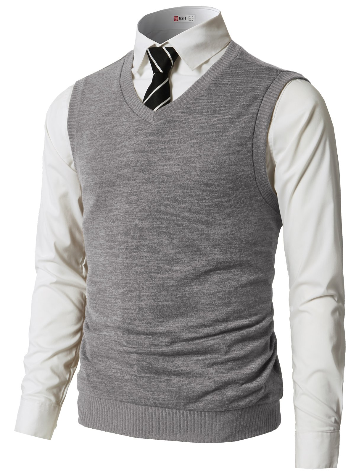 H2H Mens Knitted Sweater Two Buttons Henley Vest Gray US XL/Asia 2XL (CMOV042)