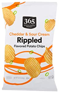365 by Whole Foods Market, Potato Chips, Cheddar & Sour Cream - Rippled, 10 Ounce
