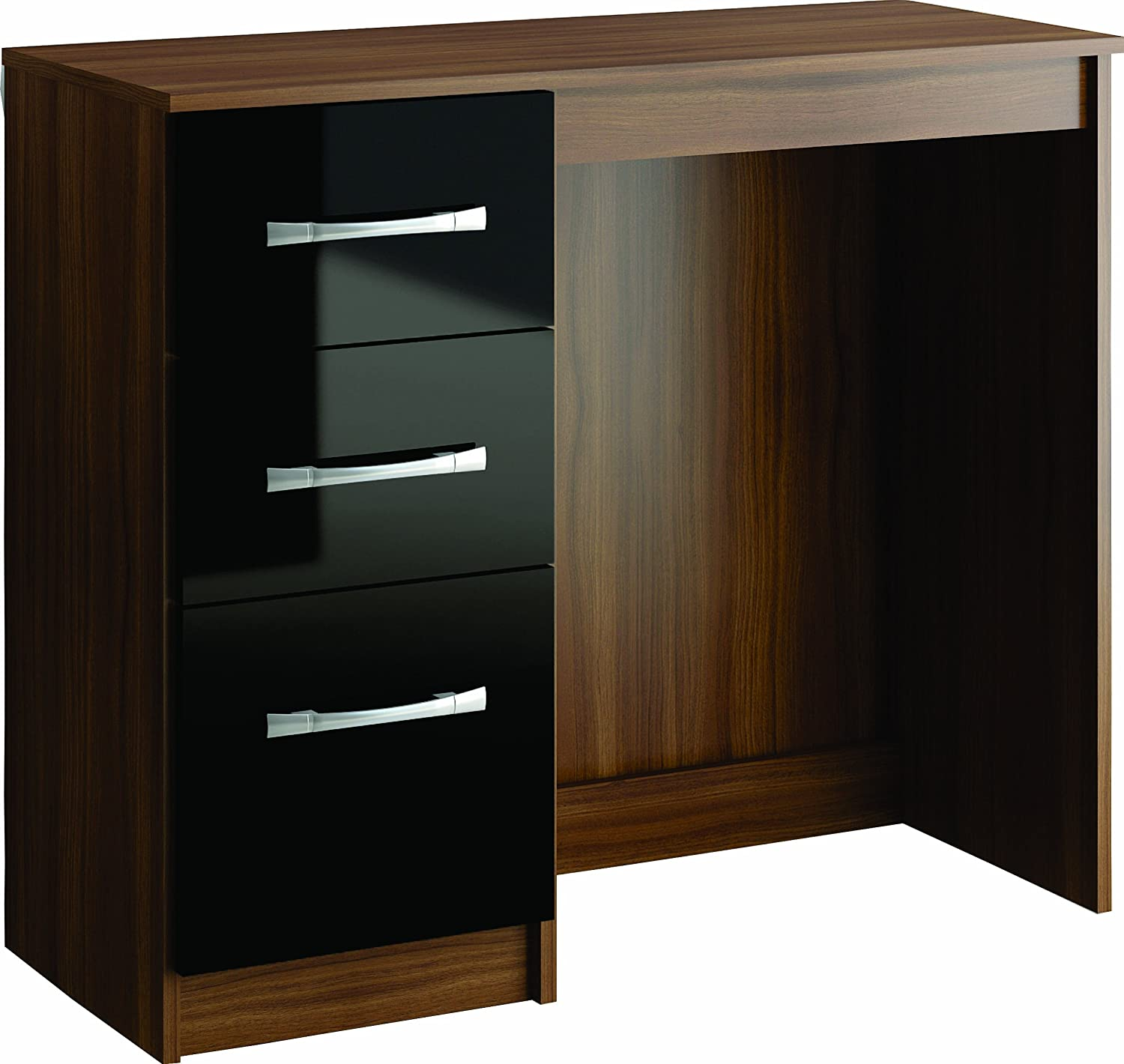 Birlea Lynx 3-Drawer Dressing Table/Desk - High-Gloss, Black Birlea Furniture Ltd LYNDRBLK