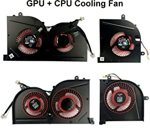 Todiys CPU + GPU Cooling Fan for MSI GS63 GS63VR 6RF 6RF-001US 7RF 7RF-212UK GS73 GS73VR 6RF 6RF-005CA 7RF 7RE-004CN 7RG 7RG-026RU 7RG-039NL MS-16K2 MS-17B MS-17B1 BS5005HS-U2F1 BS5005HS-U2L1