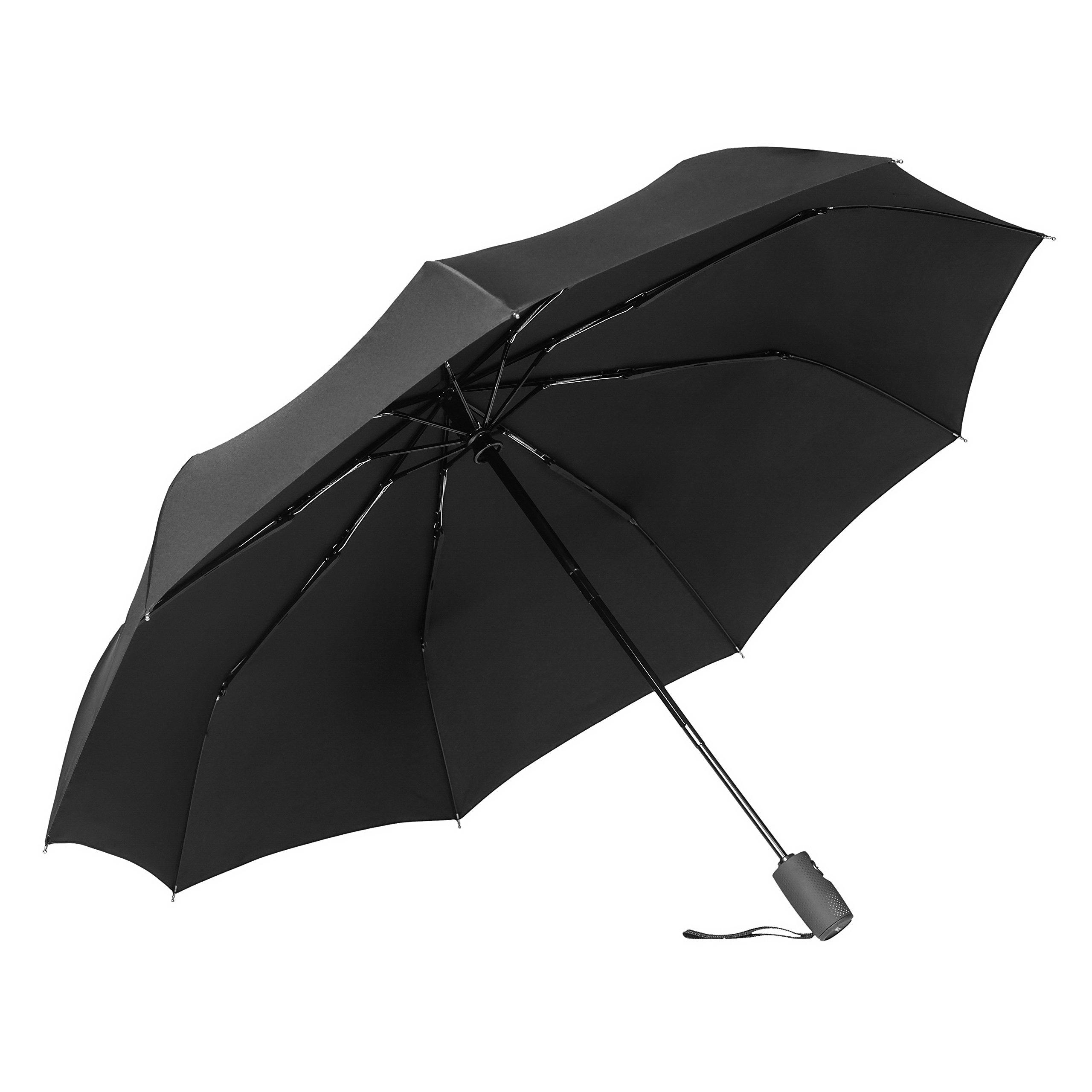 Bagail Compact Travel Umbrella Strong Durable Windproof umbrellas with Teflon Coating - Reinforced Canopy, Ergonomic Handle, Auto Open/Close Black