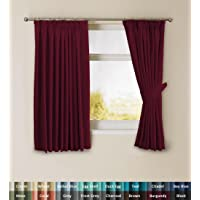 PrimePros Solid Thermal Insulated Blackout Pencil Pleat Anti - Mite Curtains for Bedroom with Two Free Tiebacks - Dark Brown, Energy Saving & Noise Reducting, 116CM Width x 137CM Drop, Set of 2 pieces