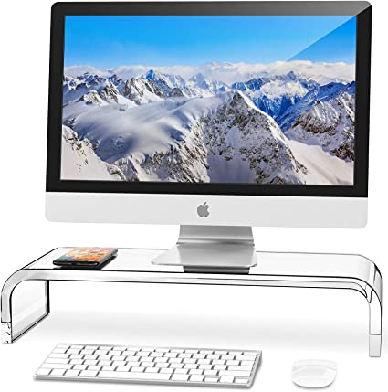 AboveTEK Monitor Stand Riser with Metal Feet for Computer Laptop iMac TV LCD Display Printer Computer Riser with Desk Organizer 20 x 9.5 inch Office Supplies Platform Save Space-Black