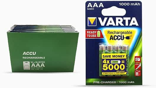 Varta 5703301404 - Pilas AAA, pack de 10 x 4 (1000 mAh): Amazon.es: Electrónica