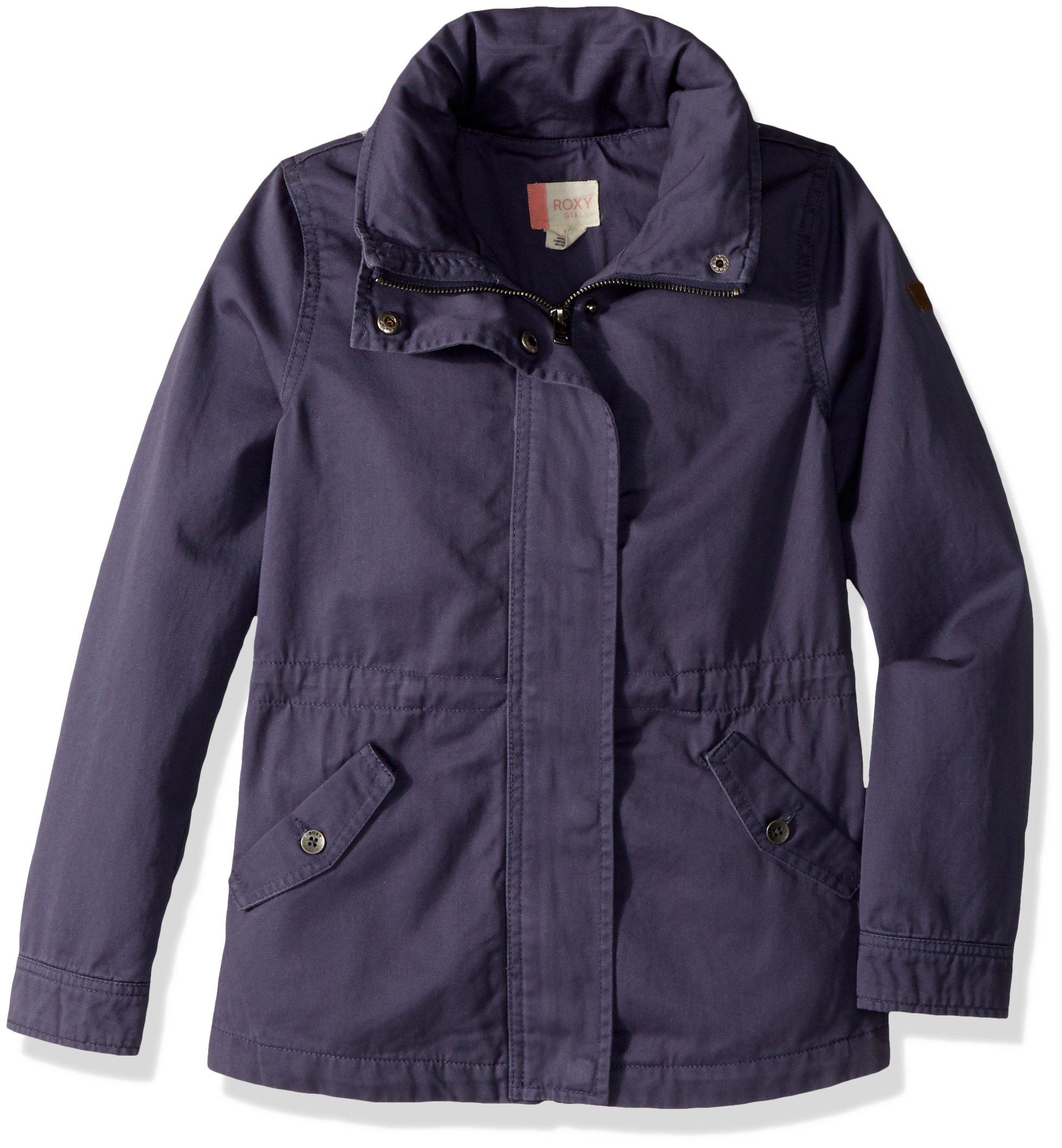 Roxy Big Girls' Military Jacket, Night Shadow Blue, 14/XL