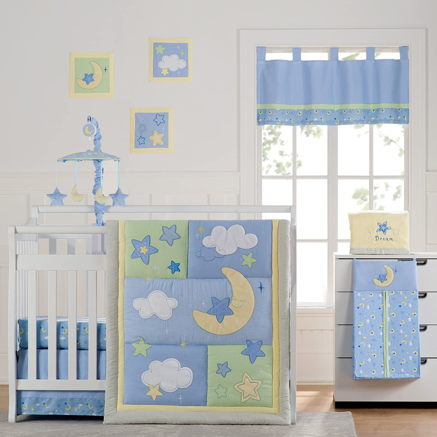 Wish I May Quintessential Cotton quilted 10 Piece Crib Bedding Set by Laugh, Giggle & Smile   B009L3JRTM