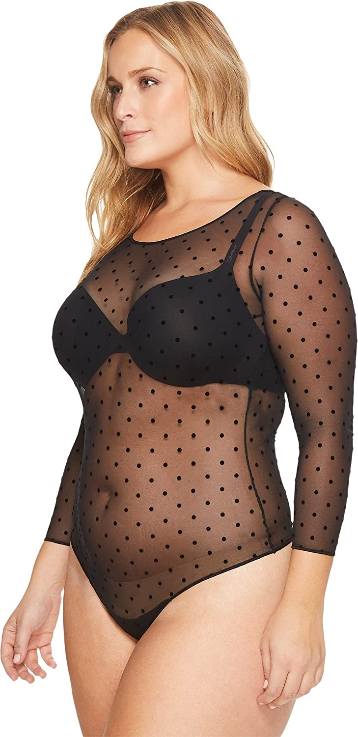 efcafff3c9 SPANX Women's Plus Size Sheer Fashion Mesh Thong Bodysuit at Amazon Women's  Clothing store: