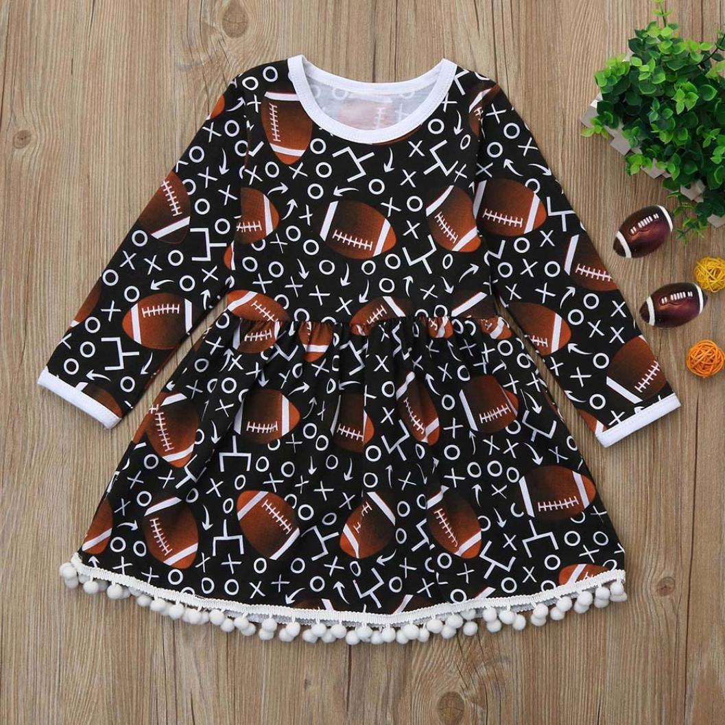 FORESTIME Toddler Kids Baby Girls Football Print Tassel Long Sleeve Princess Dress Outfits