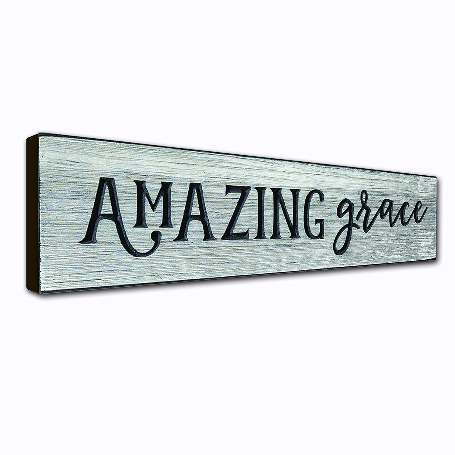 Amazing Grace Wall Art Décor Plaque – 16 x 3.5 Inches - Patriotic Quote on Wooden Frame - Handcrafted in an Amish Community in USA From Real Pine Wood, Housewarming Gift Ideas – Weathered Gray