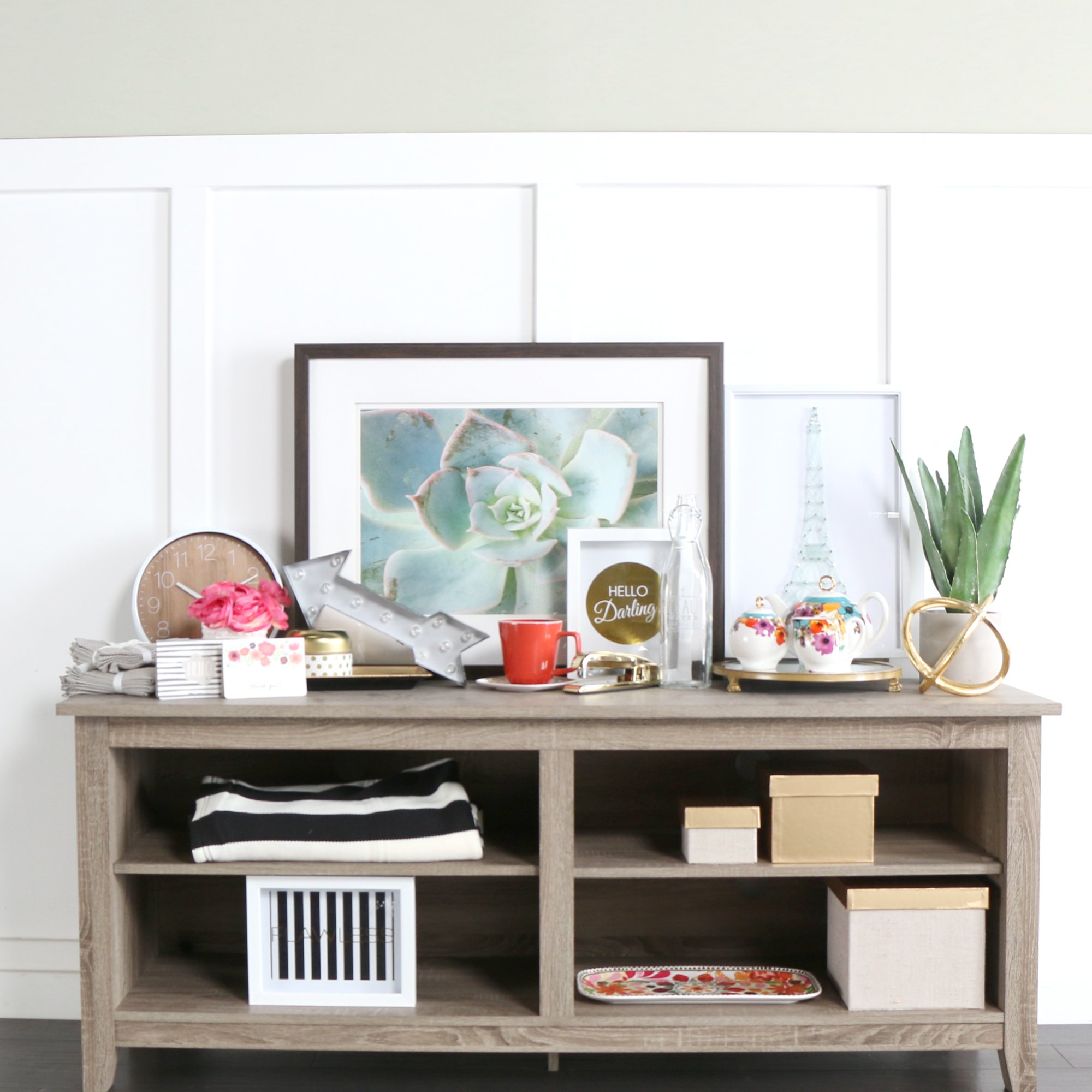New 58'' Modern Tv Console Stand – Driftwood Finish