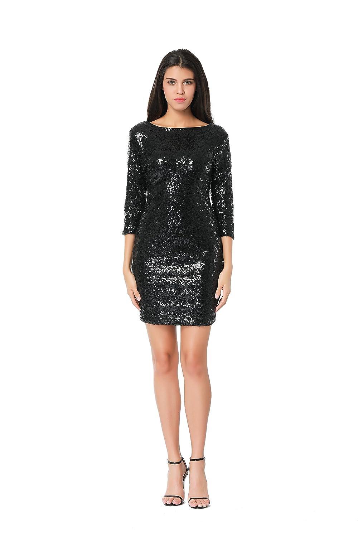 ffed58e91ab Amazon.com  TowerTree Women s Sparkle Glitter Sequin 3 4 Sleeve Bodycon  Shiny Party Dress Vegas  Clothing