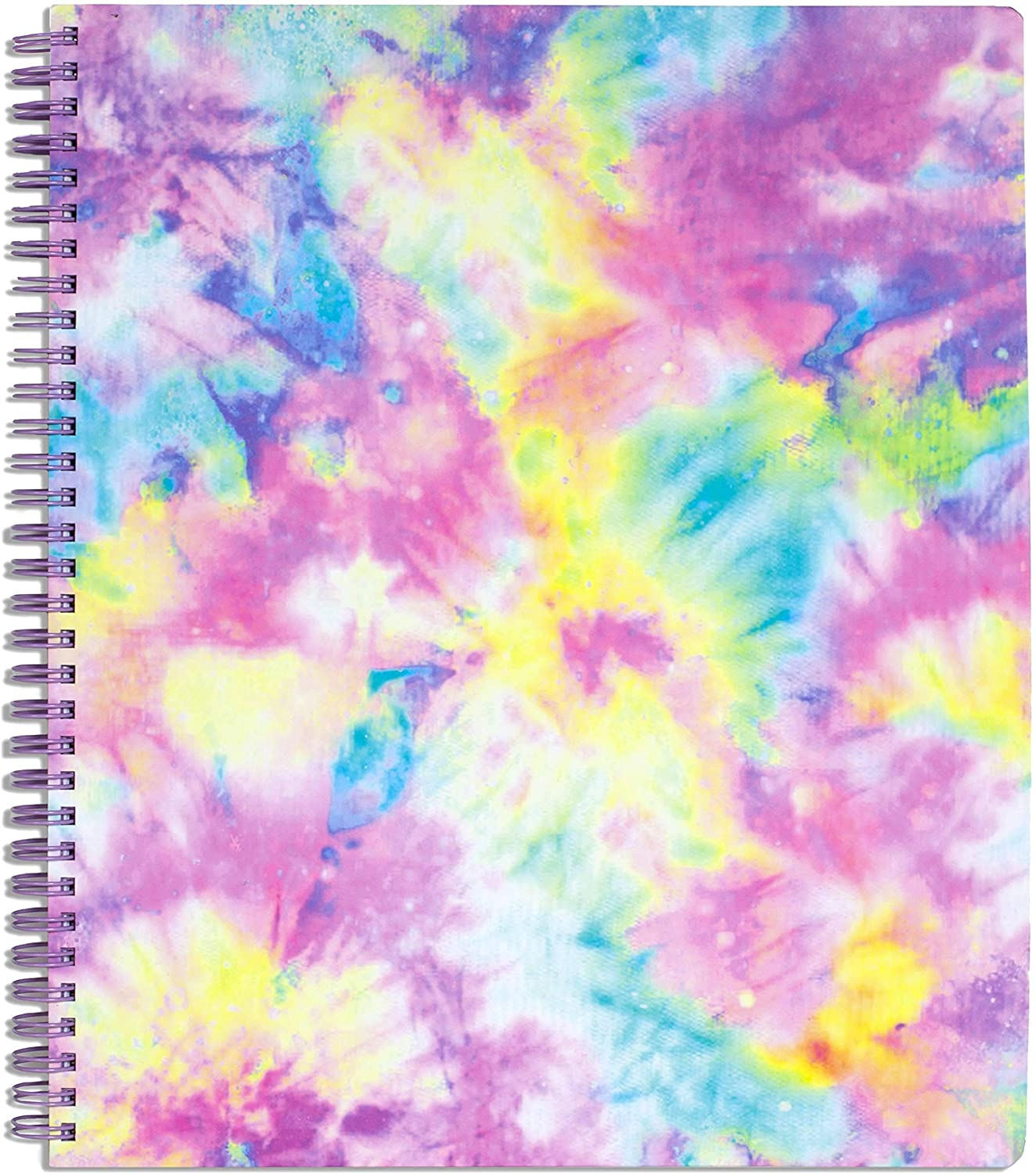 """Steel Mill & Co Cute Large Spiral Notebook College Ruled, 11"""" x 9.5"""" with Durable Hardcover and 160 Lined Pages, Tie Dye : Office Products"""