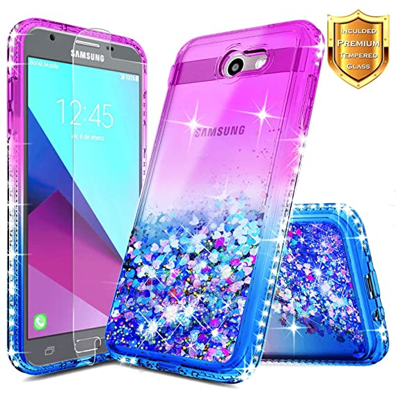 promo code 2c8f7 b4d94 Galaxy J3 Prime Glitter Case, J3 Luna Pro/J3 Eclipse/J3 Emerge/J3 Mission  w/[Tempered Glass Screen Protector], NageBee Liquid Quicksand Flowing ...