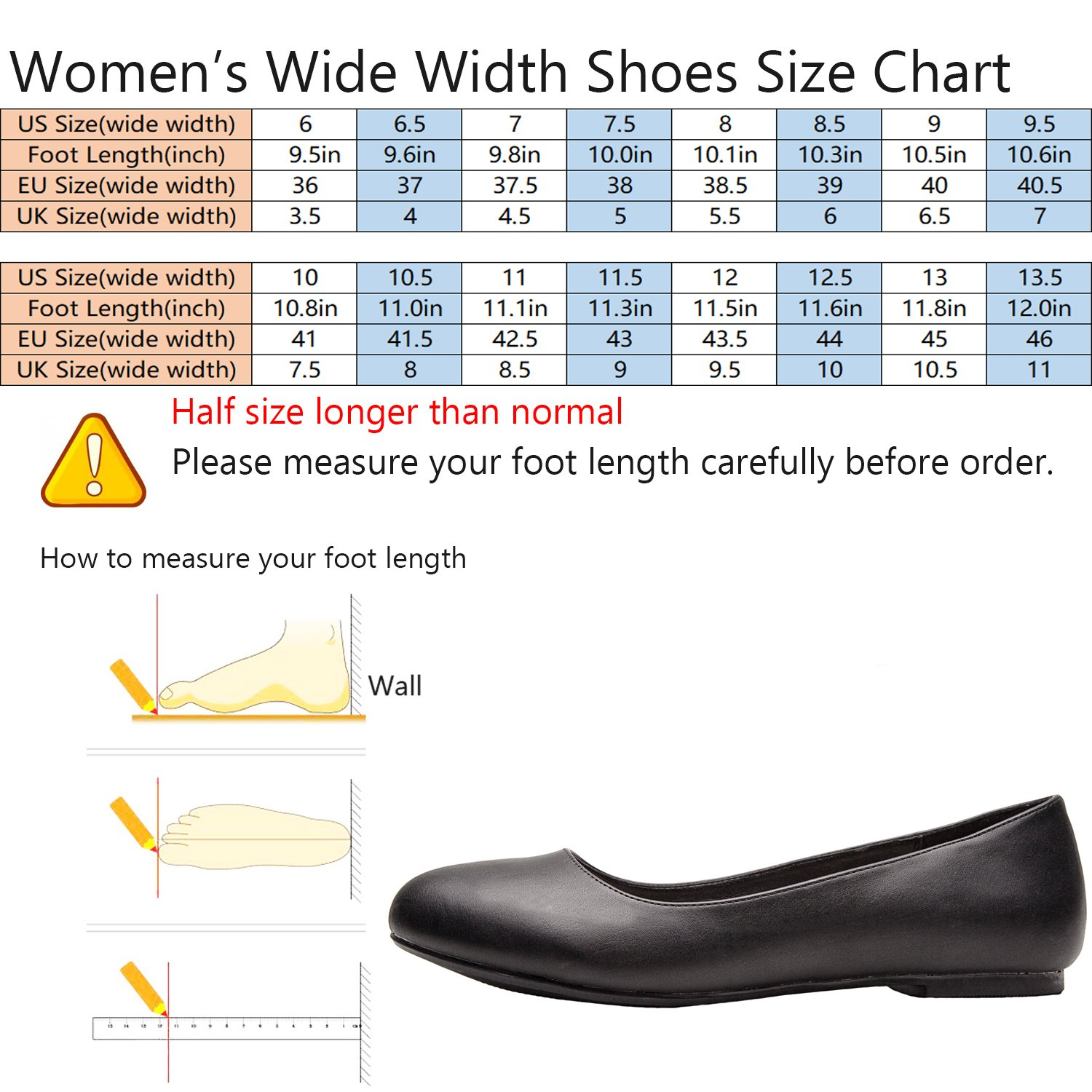 Luoika Women's Wide Width Flat Shoes - Comfortable Slip On Round Toe Ballet Flats. (180110 Black PU,9WW) by Luoika (Image #2)