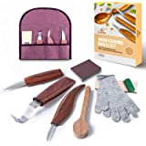 11pcs Wood Carving Tools Kit-K KERNOWO Wood Carving Knife Set with Hook Carving, Chip Wood, Whittling Knife Carved Spoon, Kuk