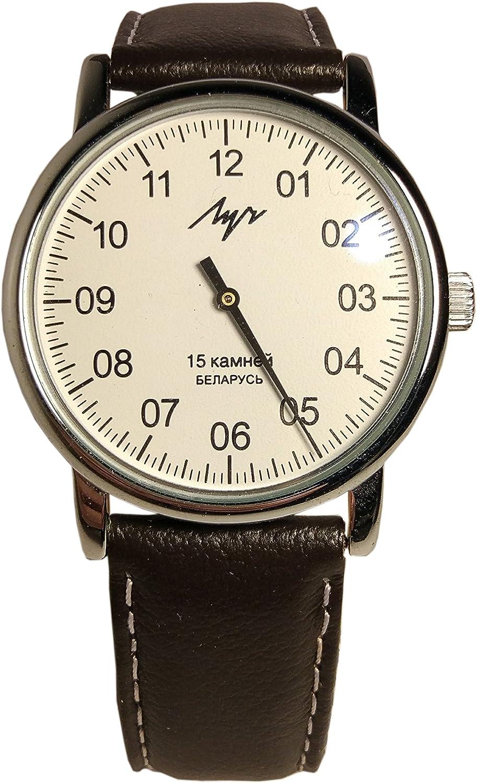Mecánico por un lado reloj Luch. 77471146Hombres de, cromado, forma redonda, cristal mineral, piel.